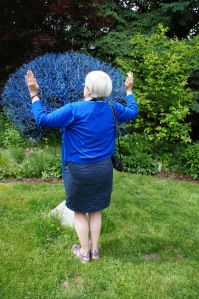 Here is Helen, one of our organizers, doing a blue thing.  The tree in the background was discovered at a curb.  The owners of this private garden rescued it, painted it blue, and called it garden art.  Talk about re-purposing!